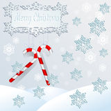 Snow. Winter landscape with snow and lolipop sticks Royalty Free Stock Photo