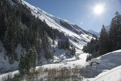 Snow winter landscape with river Stock Photography