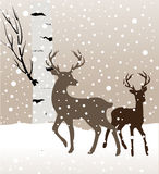 Snow winter landscape with two deers and birch tree Royalty Free Stock Image