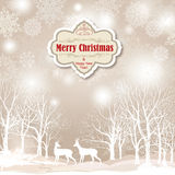 Snow winter landscape with two deers. Merry Christmas background Royalty Free Stock Image