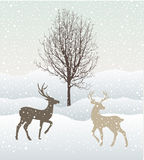 Snow winter landscape with two deers and tree Stock Photography
