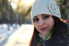 Snow winter portrait female Royalty Free Stock Image