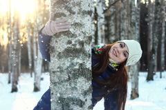 Snow winter portrait female Stock Images