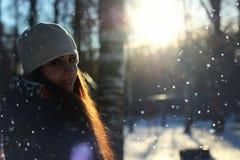 Snow winter portrait female Stock Photo