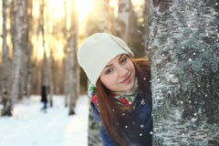 Snow winter portrait female Royalty Free Stock Photos