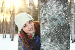 Snow winter portrait female Royalty Free Stock Images