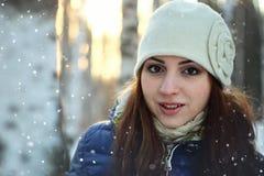 Snow winter portrait female Royalty Free Stock Photography