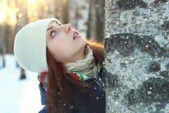 Snow winter portrait female Stock Photos
