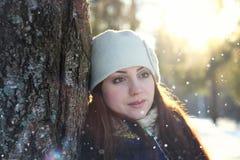 Snow winter portrait female Royalty Free Stock Photo