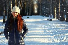 Snow winter portrait female Stock Image