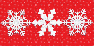 Snow winter poster. With three beautiful white snowflakes on red textured background. Digital Illustration. Children Holiday pattern Christmas. For art, texture stock illustration