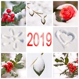 2019, snow and winter red and white nature. Photos collage royalty free stock images