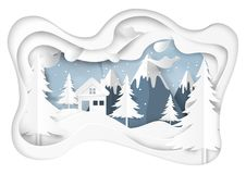 Snow and winter season with nature landscape background. Snow and winter season abstract background with mountains and nature landscape for merry christmas and Royalty Free Stock Image
