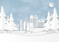 Snow and winter season with urban landscape paper art style. Snow and winter season with urban landscape for merry christmas and happy new year paper art style Stock Photo