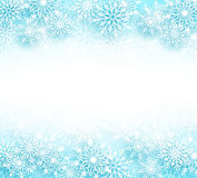 Snow winter vector background with different shapes of snowflakes elements. And empty white space for text in a white background. Vector illustration Stock Photography