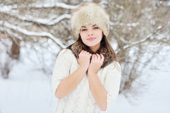 Snow winter woman portrait outdoors. Snowy white winter day Stock Images