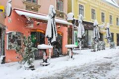 Snow in winter. Zagreb, Croatia - December 28. The snowstorm in the morning in Zagreb, Croatia Royalty Free Stock Image