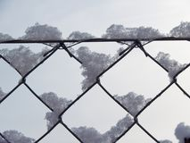 Snow on wire frame royalty free stock images