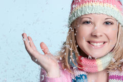 Snow Woman. Smiling woman in falling snow stock photography