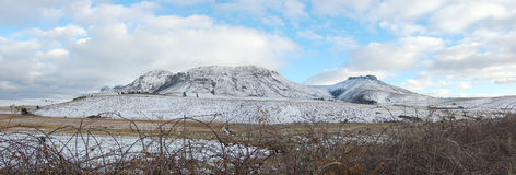 Snow wonderland. Snow covered mountains, Hogsback, South Africa Stock Photo
