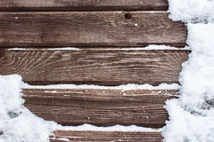 Snow on the wood backround Royalty Free Stock Images
