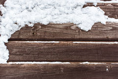 Snow on the wood backround Stock Image