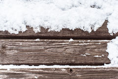 Snow on the wood cold background.  Stock Photo