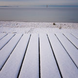 Snow on wooden boards Royalty Free Stock Photos