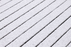 Snow on wooden floor Royalty Free Stock Photo