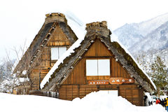 Snow in the world heritage house Stock Image