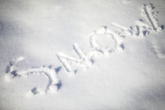Snow written in the snow Stock Photography