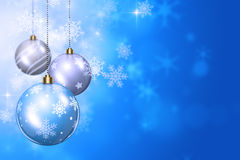 Snow and Xmas Balls Royalty Free Stock Images