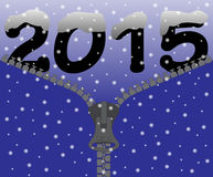 2015 Snow Zipper. A 2015 snow zipper design on a Snowy background stock illustration