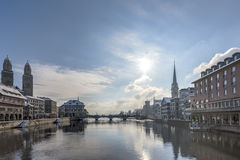 Snow in Zurich Stock Photography