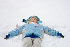 Snowangel maker Stock Photography