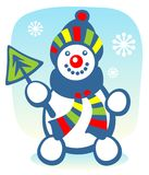 Snowball. Cartoon snowball with fur-treeon a blue background. Christmas illustration Royalty Free Stock Photo