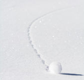 Snowball. Ball of snow in the mountain Stock Image