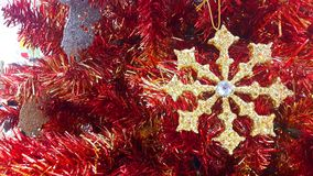 Snowballs decorate the Christmas tree. Snowball Christmas Decoration - Christmas and New Year Royalty Free Stock Image