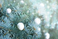 Snowball on Christmas tree Stock Photo