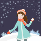 snowball dziewczyny Obraz Royalty Free