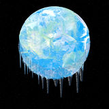Snowball earth. Earth covered in Ice on black with stars Stock Image