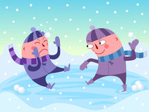 Snowball fight. Illustration of two boys having a snowball fight Stock Photography