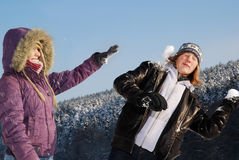 Snowball fight Royalty Free Stock Images