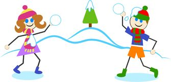 Snowball fight stock illustration