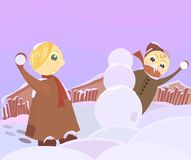 Snowball fight. Vector scene with playing children Royalty Free Stock Image