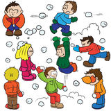 Snowball fight. Cartoon illustration   on white Royalty Free Stock Photography