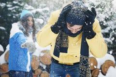 Snowball fight Stock Photos
