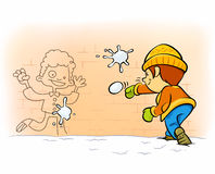 Snowball fight Stock Photo