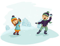 A snowball fight Stock Photography