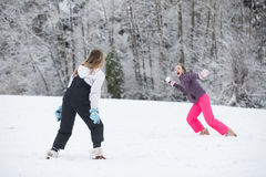 Snowball fight in winter Stock Photo